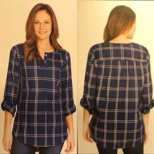 Nine West NWT Lucy Plaid Popover Tunic
